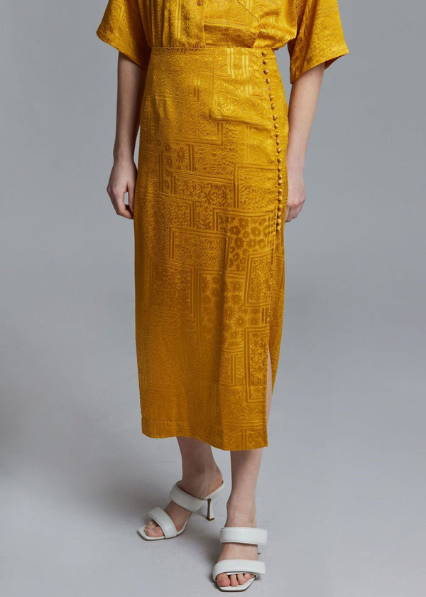 ROTATE Caitlin Midi Skirt in Spicy Mustard