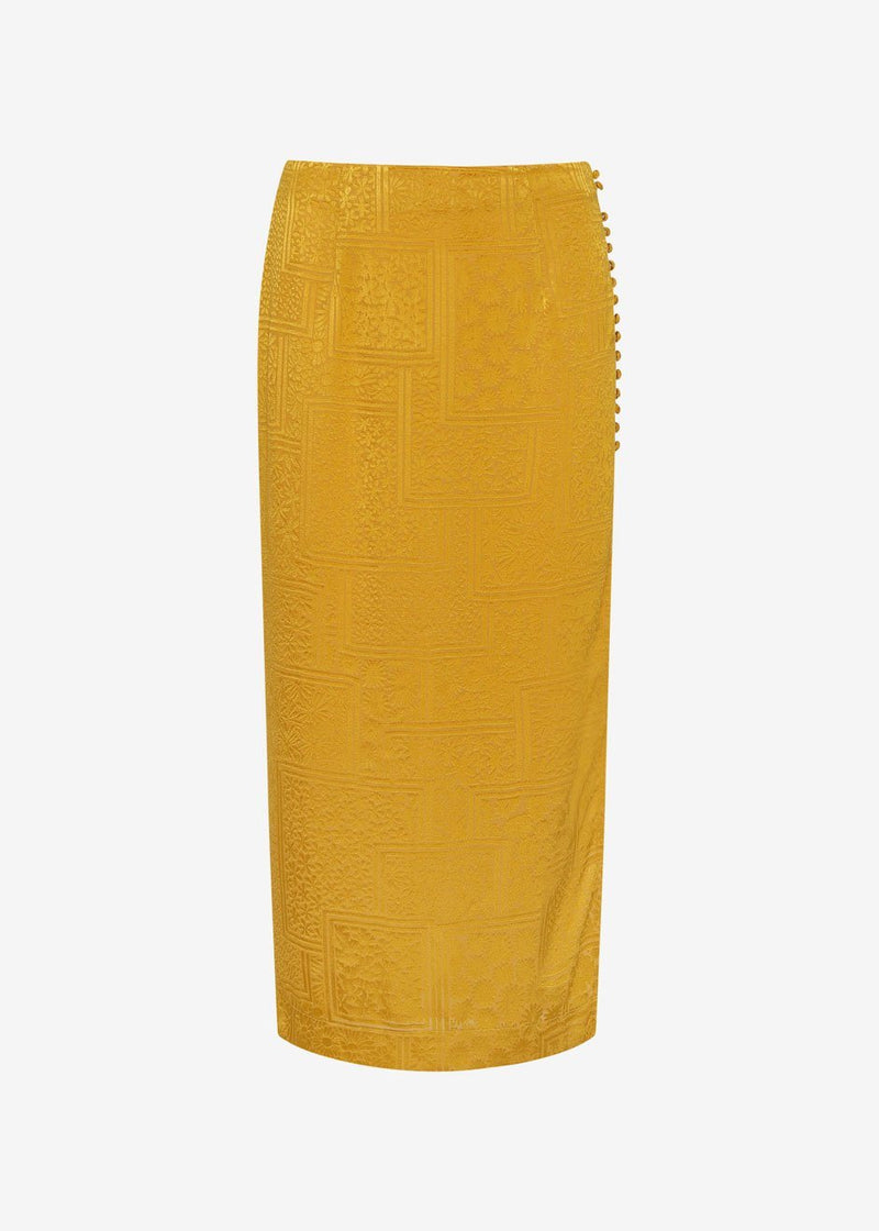 ROTATE Caitlin Midi Skirt in Spicy Mustard Skirt Rotate