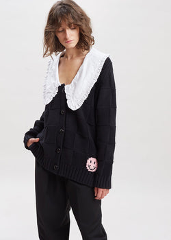 Ruffle Collar Knit Cardigan by GANNI in Black The Frankie Shop
