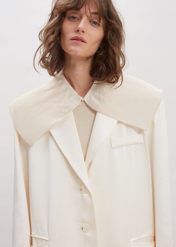 Satin Pleated Collar in Pearl Collar Sof