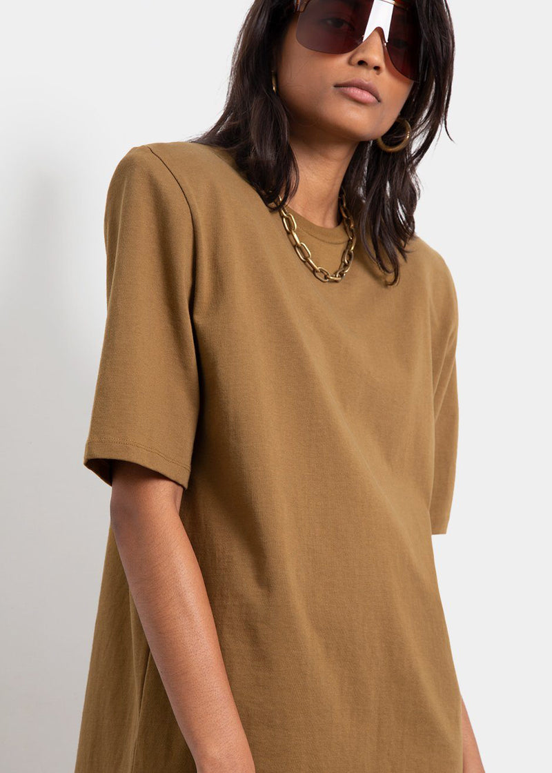 Sean Padded Shoulder Dress in Olive
