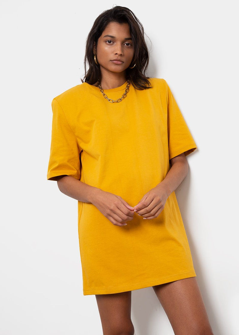 Sean Padded Shoulder Dress in Yellow Dress The Frankie Shop