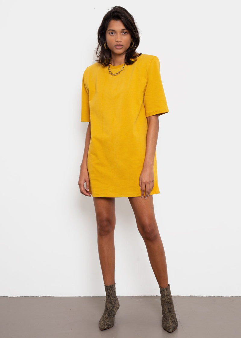 Sean Padded Shoulder Dress in Yellow