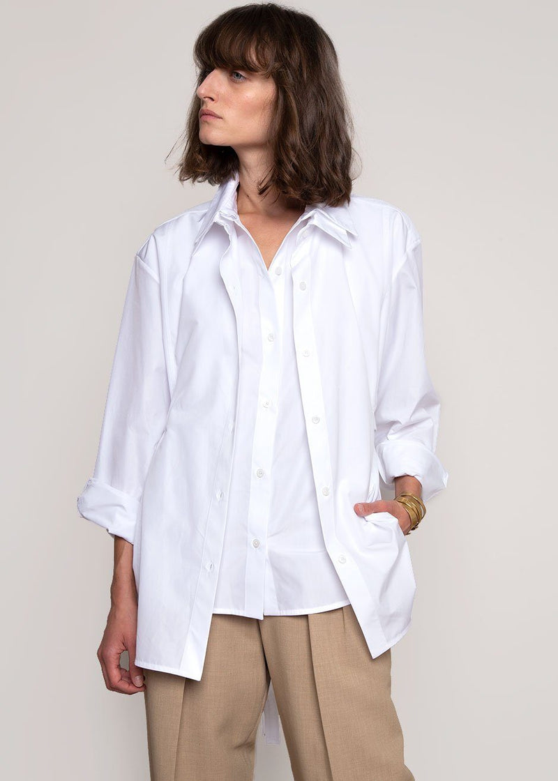 Seli Double Collared Belted Shirt by Eudon Choi- White Shirt Eudon Choi