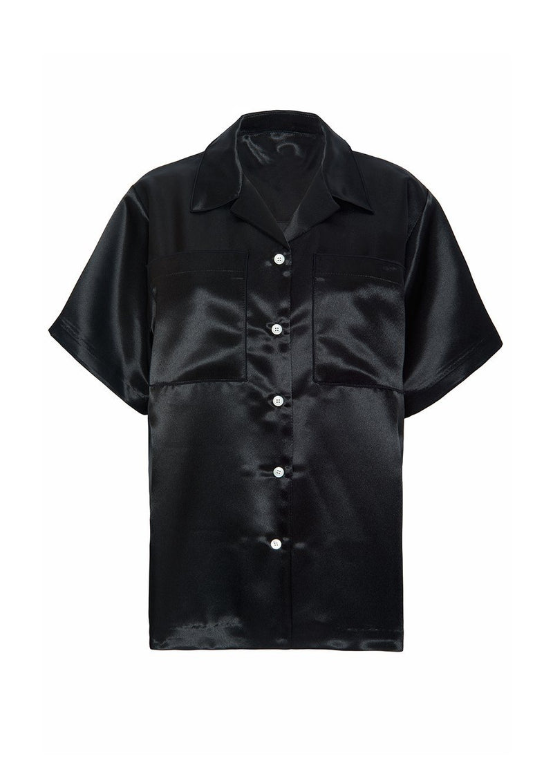 Short Sleeve Satin Button Shirt- Black Shirt L'art