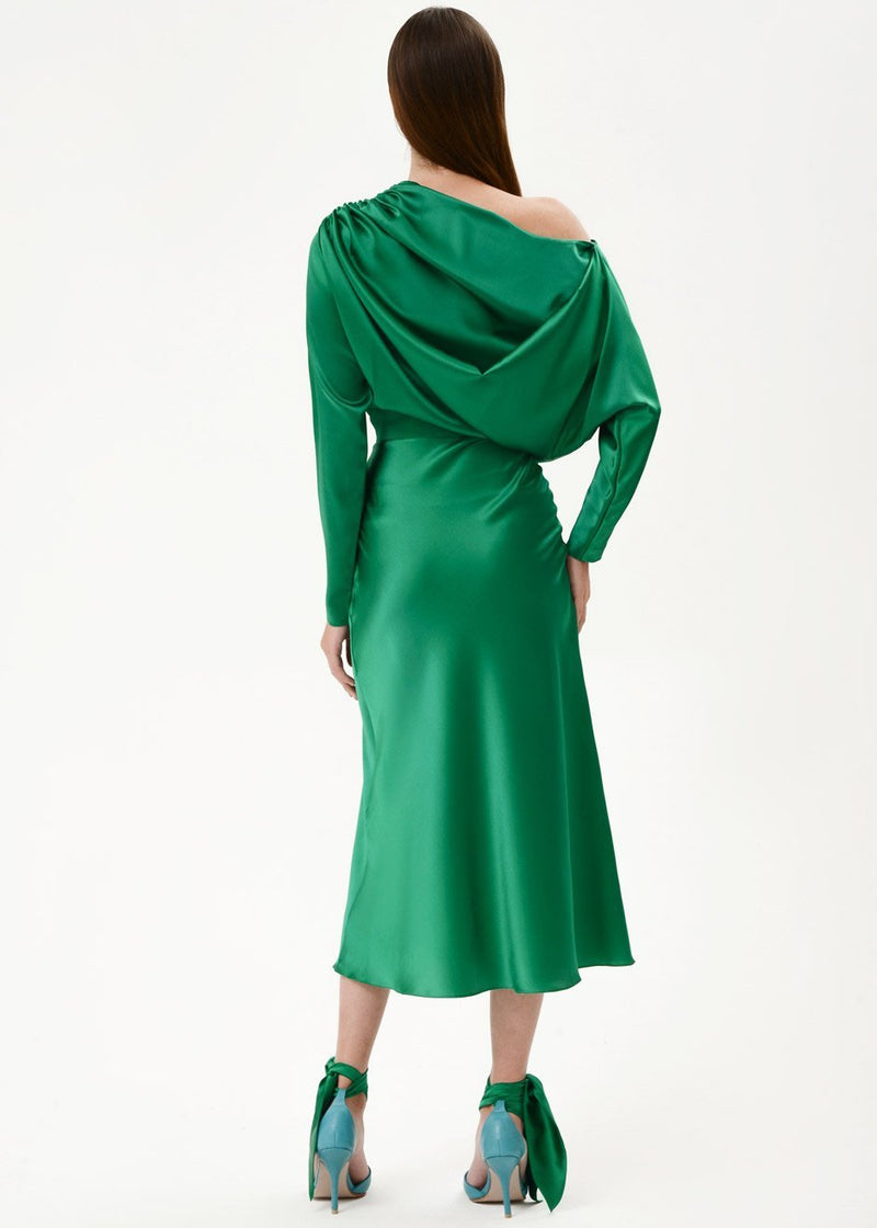 Silk Draped Midi Dress by Materiel Tbilisi in Green Dress Materiel Tbilisi