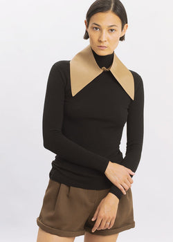 Silk Pointed Collar by Ter et Bantine in Tan Collar Ter et Bantine