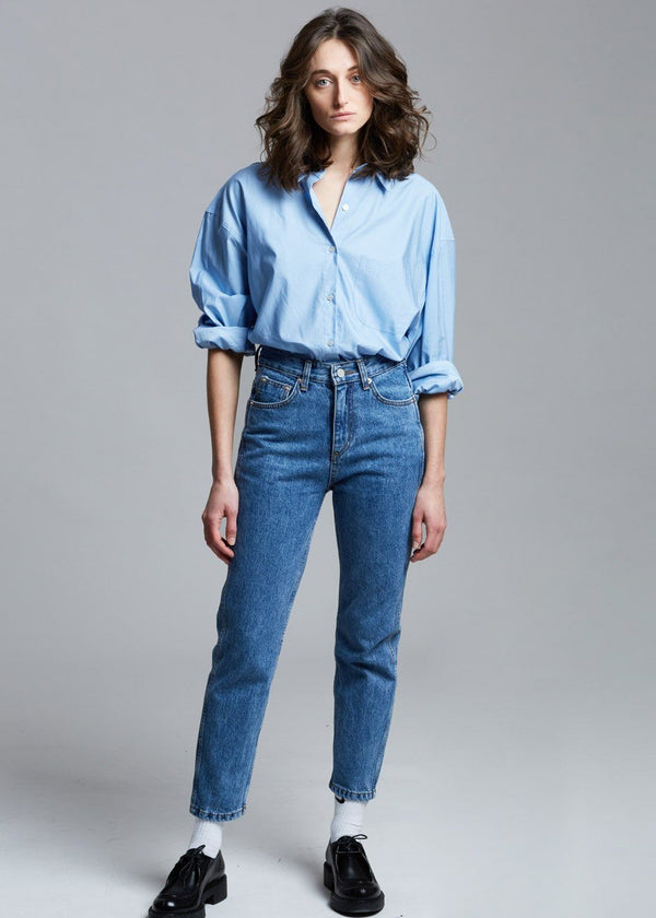 Silky Oversized Cotton Shirt in Powder Blue Shirt The Frankie Shop