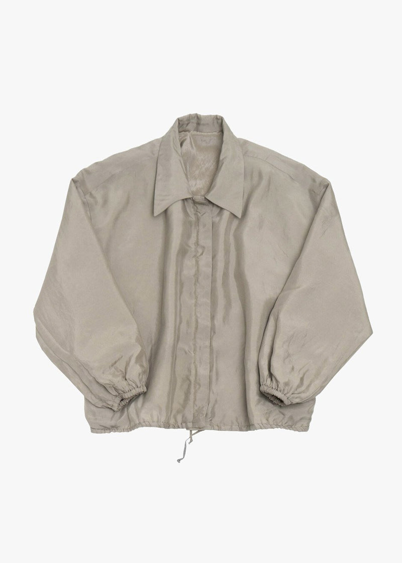 Silky Padded Blouson Jacket by Amomento in Light Khaki Jacket Amomento