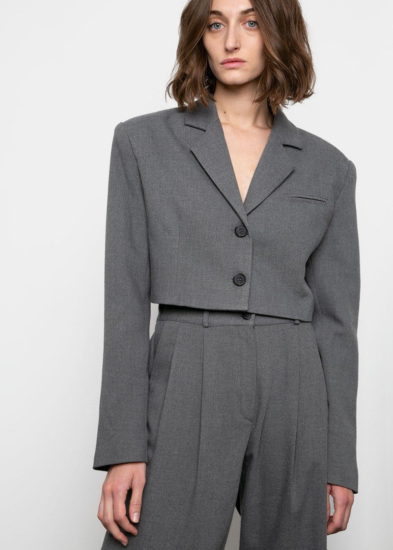 Single Breasted Cropped Blazer in Smoke Blazer Veranda