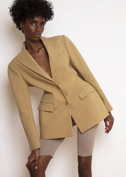 Single Breasted Hourglass Blazer in Camel