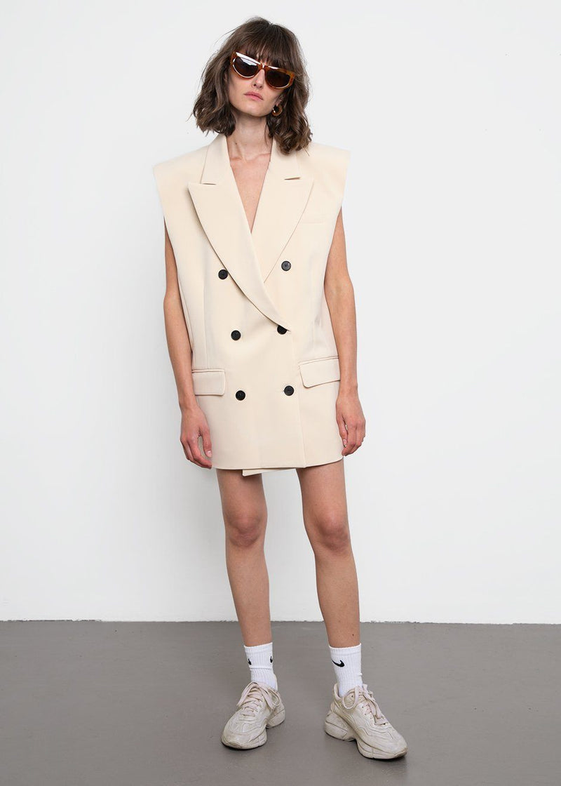 Sleeveless Blazer Dress- Corn Husk Dress Stage