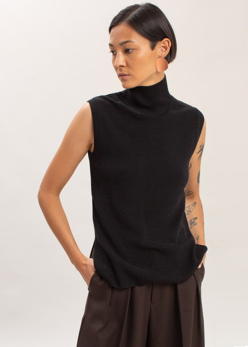 Sleeveless Knit Turtleneck in Black Vest Bar