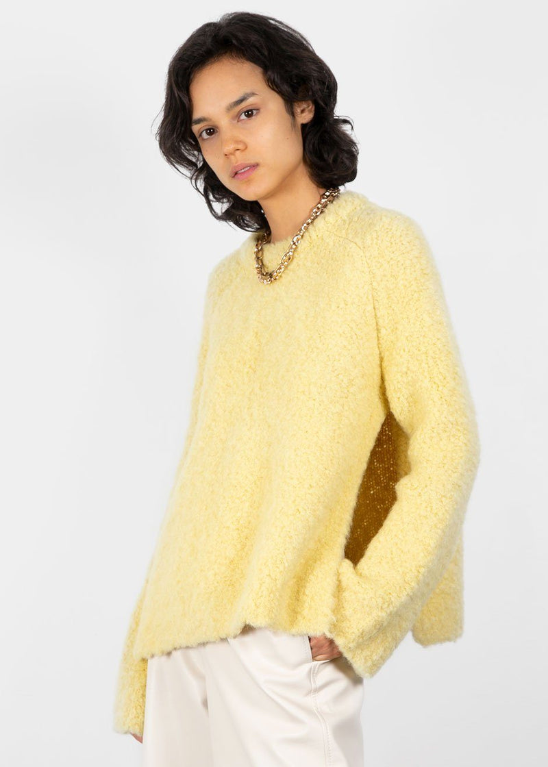 Slit Boucle Sweater in Yellow Sweater Earl Grey People