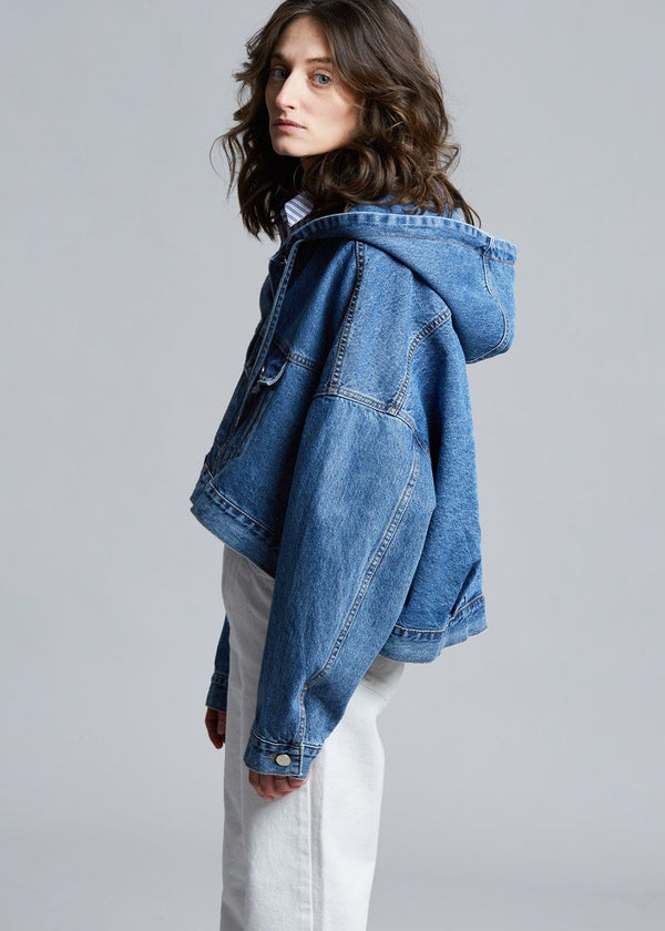 Slouchy Hooded Denim Jacket in Worn Wash Jacket Another.J