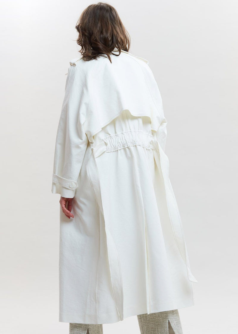 Smocked Back Oversized Trench in Eggshell Coat By Flow