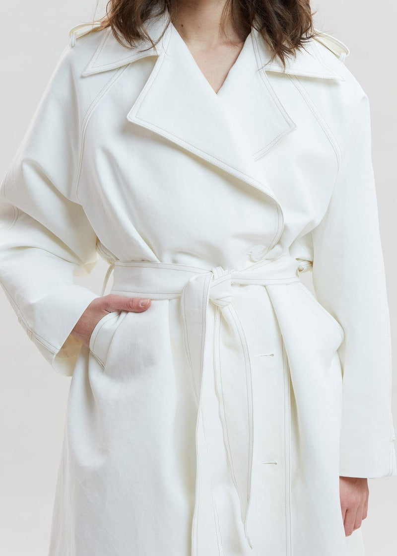 Smocked Back Oversized Trench in Ivory Coat By Flow