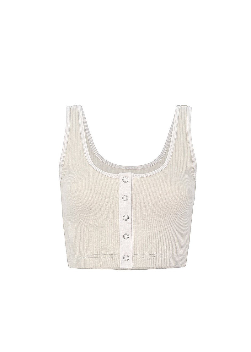 Snap Cropped Tank Top in Oyster Top Cafe Noir