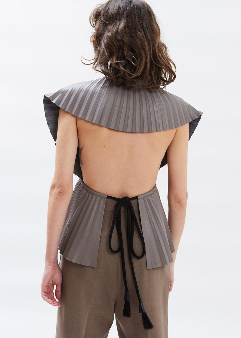 Sol Pleated Vegan Leather Top by Nanushka in Clay