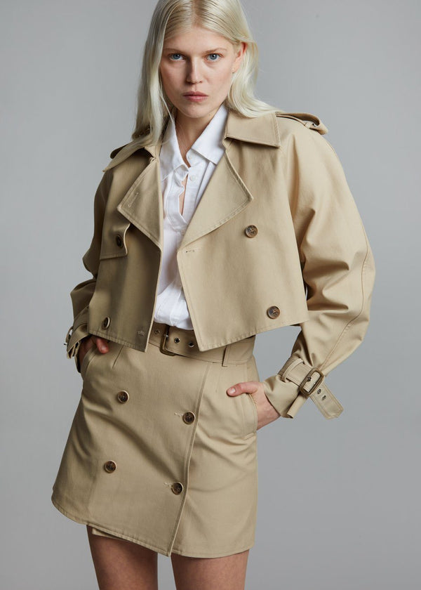 Solene Cropped Trench Jacket - Sand Jacket Stage