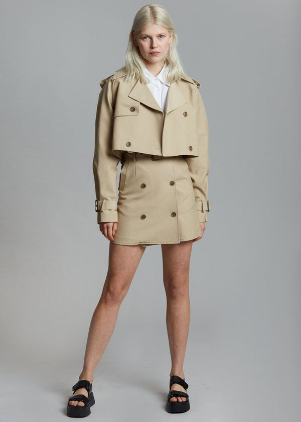 Solene Cropped Trench Jacket - Sand