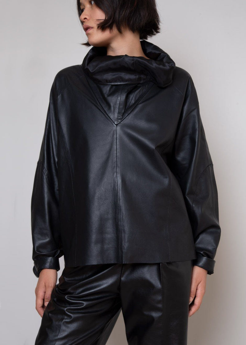 Sortie Roll Neck Leather Top by Remain Birger Christensen in Black The Frankie Shop