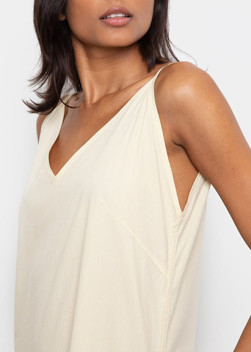 Split Neck Dress with Spaghetti Straps- Daffodil Dress Browns