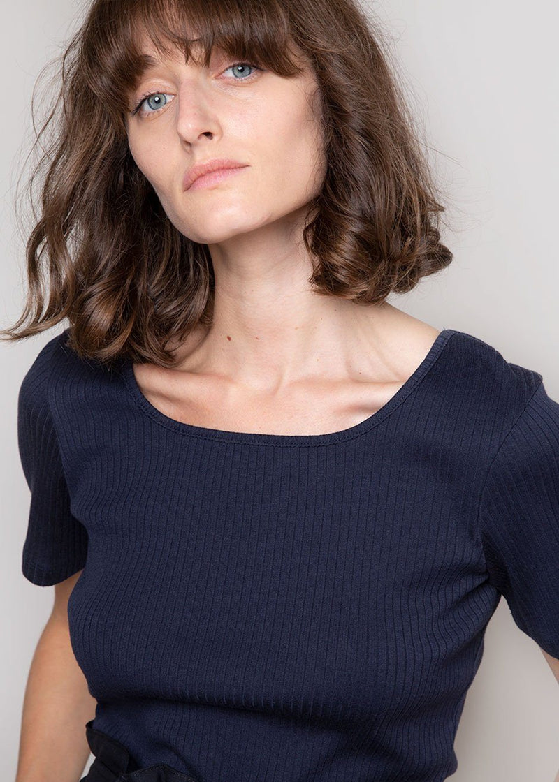 Square Neck Ribbed Tee by Amomento in Navy Top Amomento