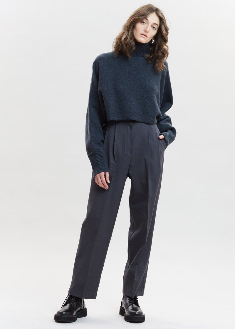 Straight Belted Pleat Pants in Pewter Pants Mainstay