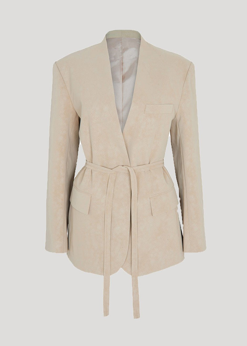 Sueded Collarless Belted Blazer in Biscotti Blazer L'art