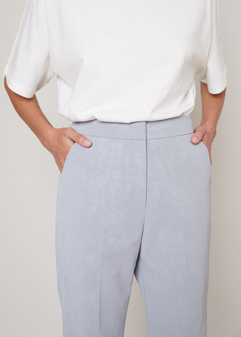 Sueded Split Hem Trousers in Icelandic Blue Pants L'art
