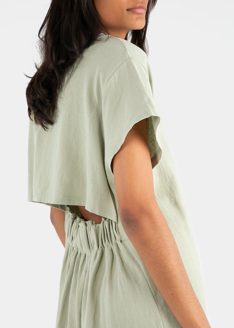 T-Shirt Dress with Open Back in Melon Green Dress Mellor