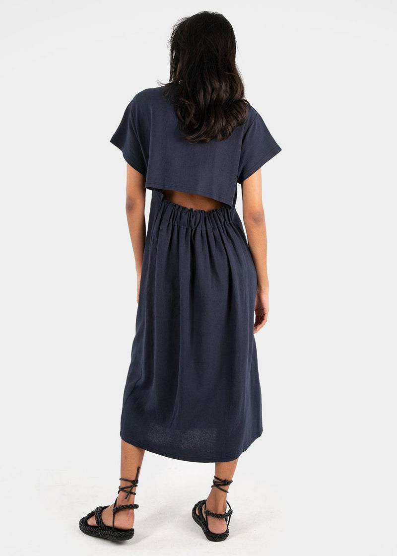 T-Shirt Dress with Open Back in Navy Dress Mellor