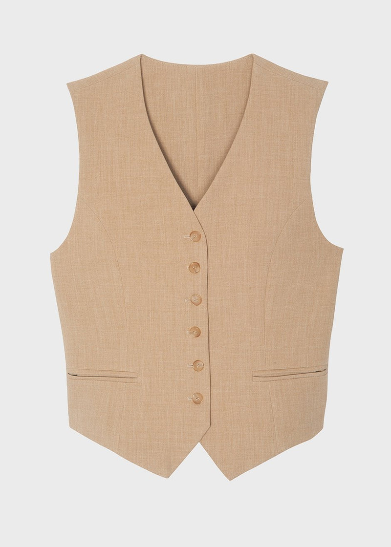 Tailored Vest in Wheat Vest The Frankie Shop