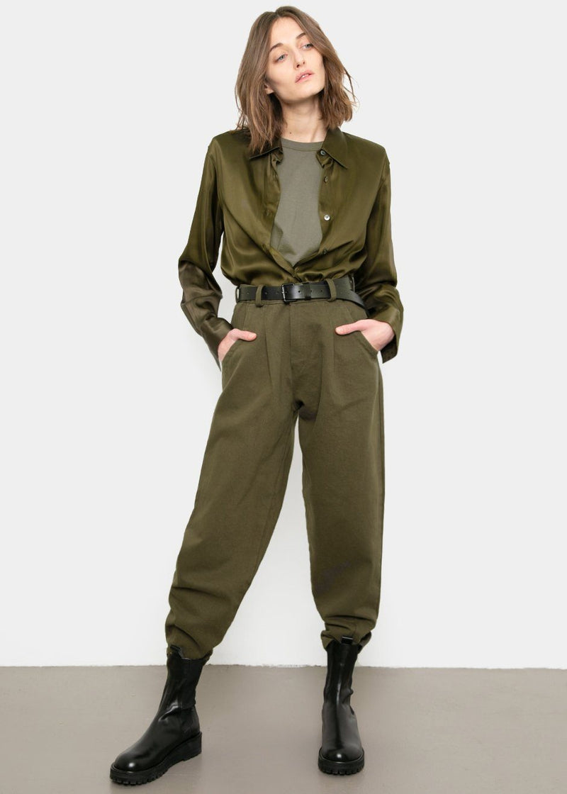 Tapered Cotton Twill Pants- Seaweed Pants Romie