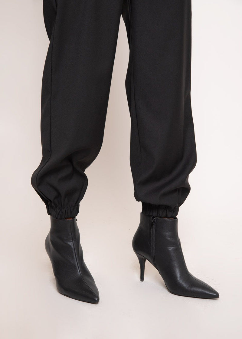 Tapered Crossover Trousers in Black