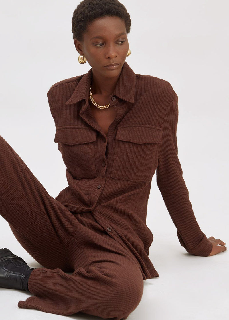 Thick Rib Pocket Shirt Lounge Set in Chocolate