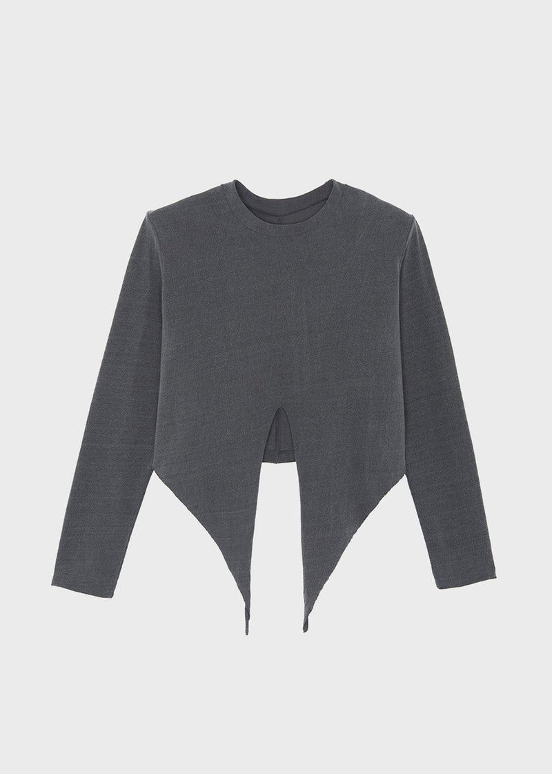 Tie Waist Padded Shoulder Long Sleeve Top in Graphite Top The Frankie Shop