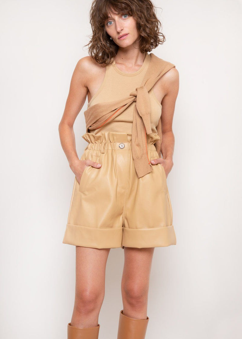 Tiffany High Waist Long Shorts in Butter Shorts The Frankie Shop
