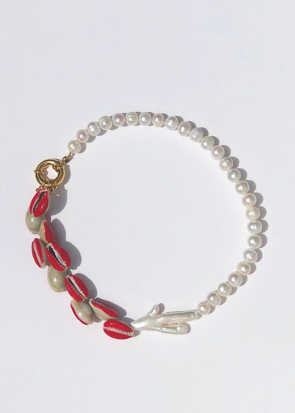 Timeless Pearly Choker Necklace with White Pearl and Red Shells Necklace Timeless Pearly
