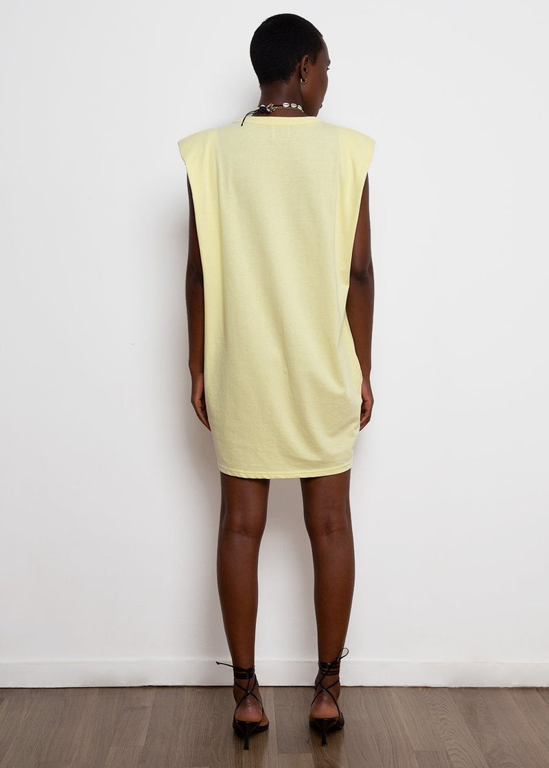 Tina Padded Shoulder Dress- Pale Yellow Dress The Frankie Shop
