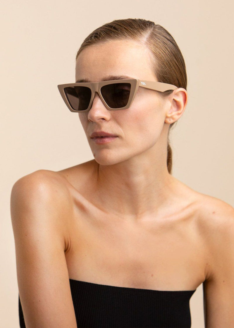 Trapezium Sunglasses by TOL Eyewear in Nude Sunglasses TOL Eyewear