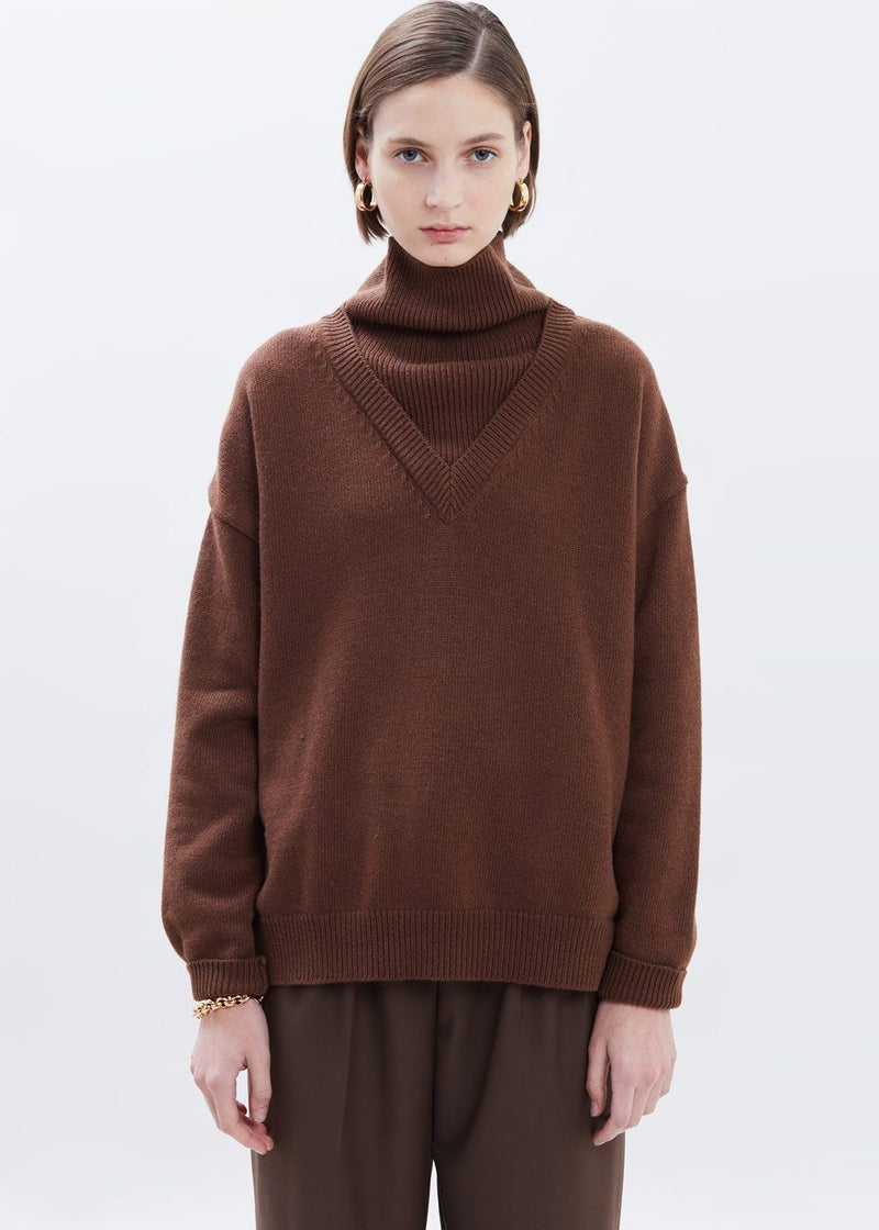 Turtleneck Combo Knit Sweater in Chocolate Sweater Done