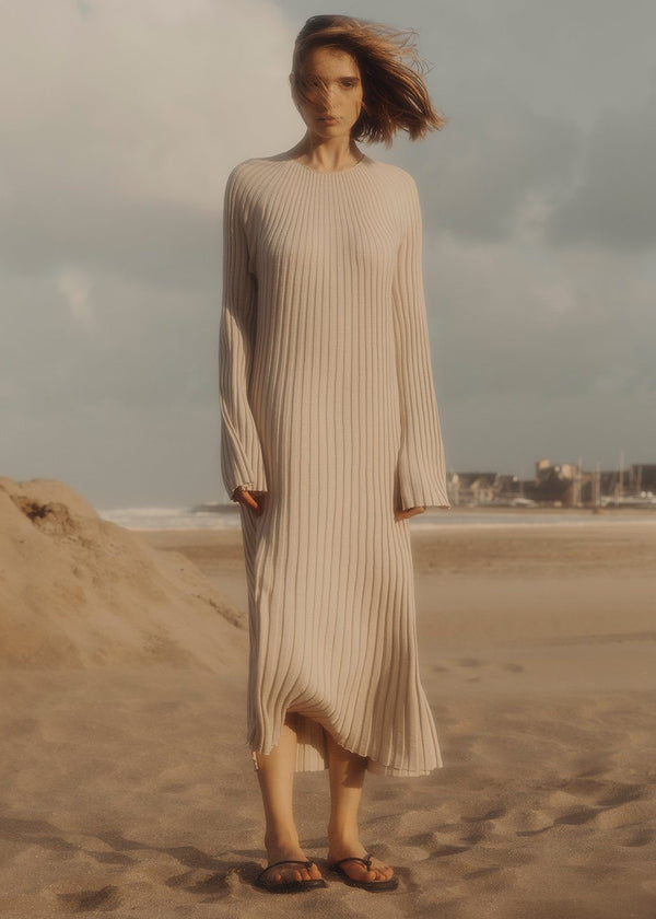 Uturoa Ribbed Knit Dress by Loulou Studio- Natural Dress Loulou Studio