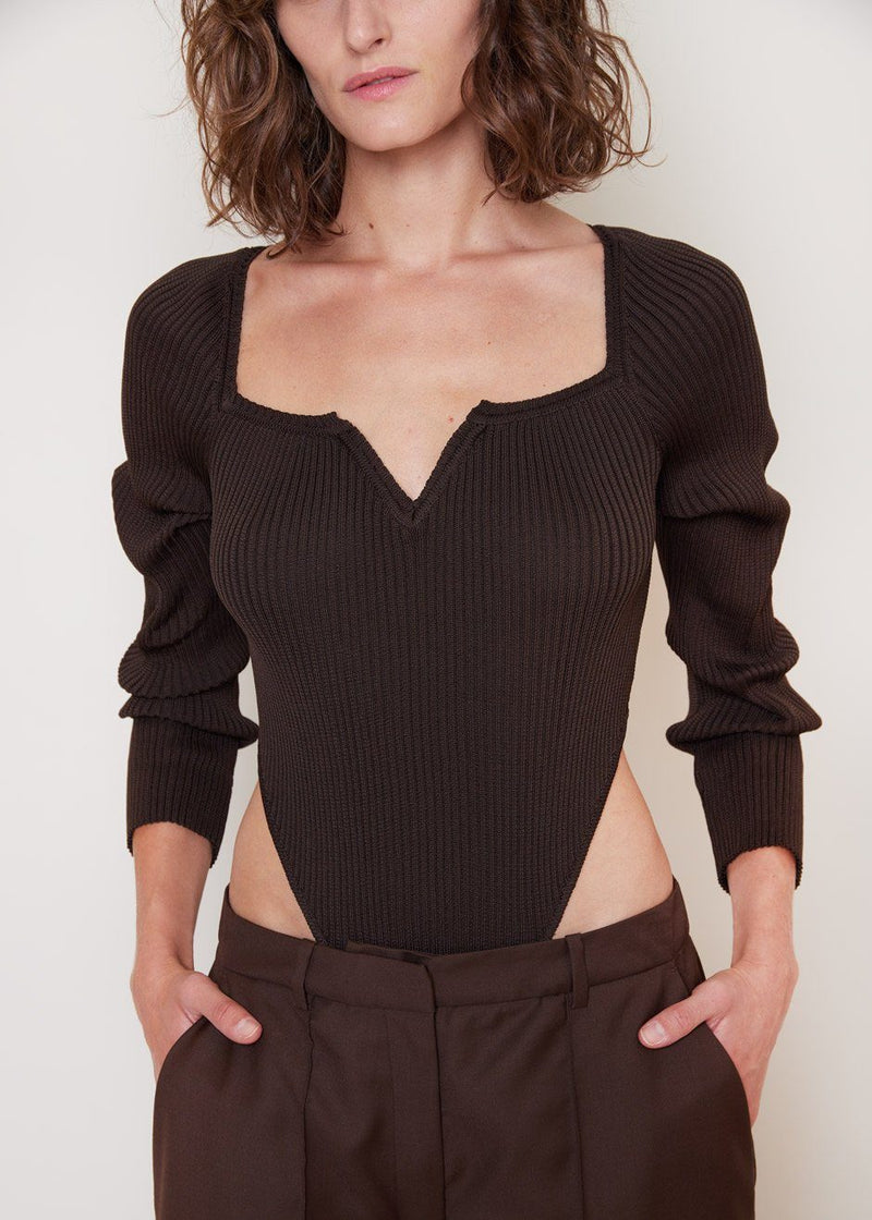 V-Neck Knitted Bodysuit by Bevza in Chocolate bodysuit bevza
