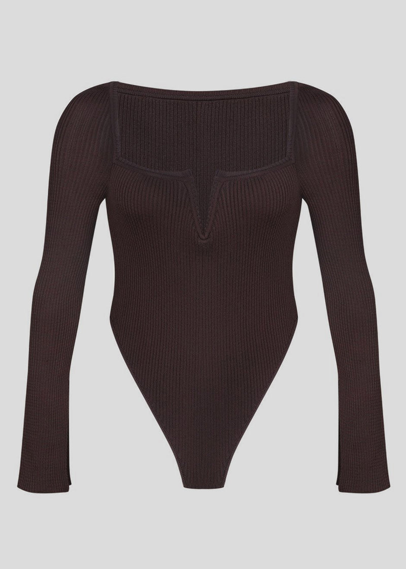 V-Neck Knitted Bodysuit by Bevza in Chocolate