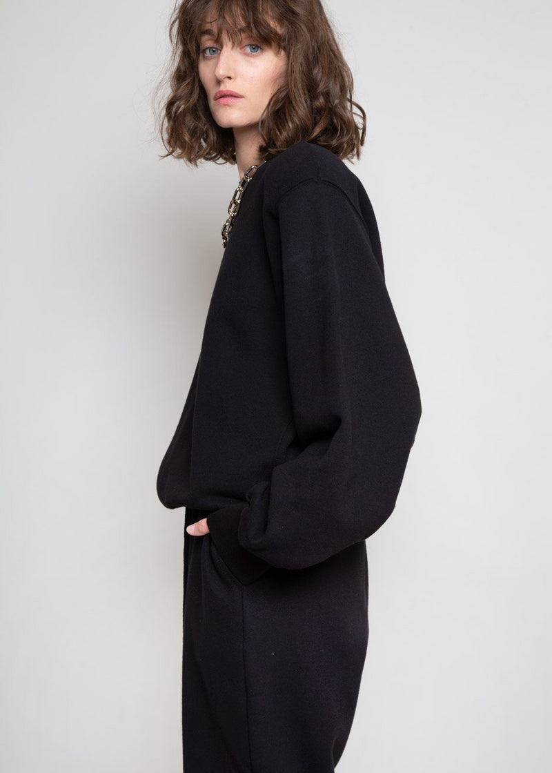 Vanessa Padded Shoulder Sweatshirt in Black Sweatshirt The Frankie Shop