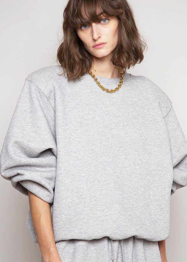 Vanessa Padded Shoulder Sweatshirt in Light Grey Sweatshirt The Frankie Shop