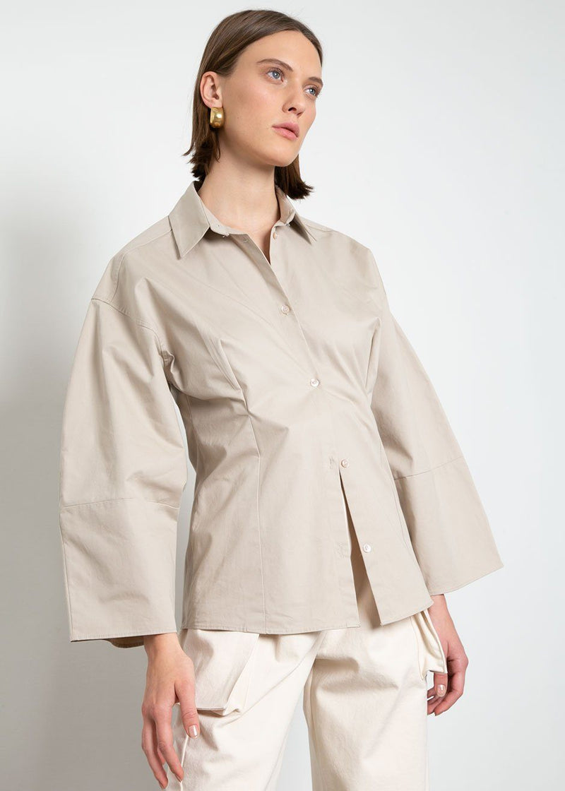 Volume Sleeve Cotton Shirt in Putty Shirt The Wave