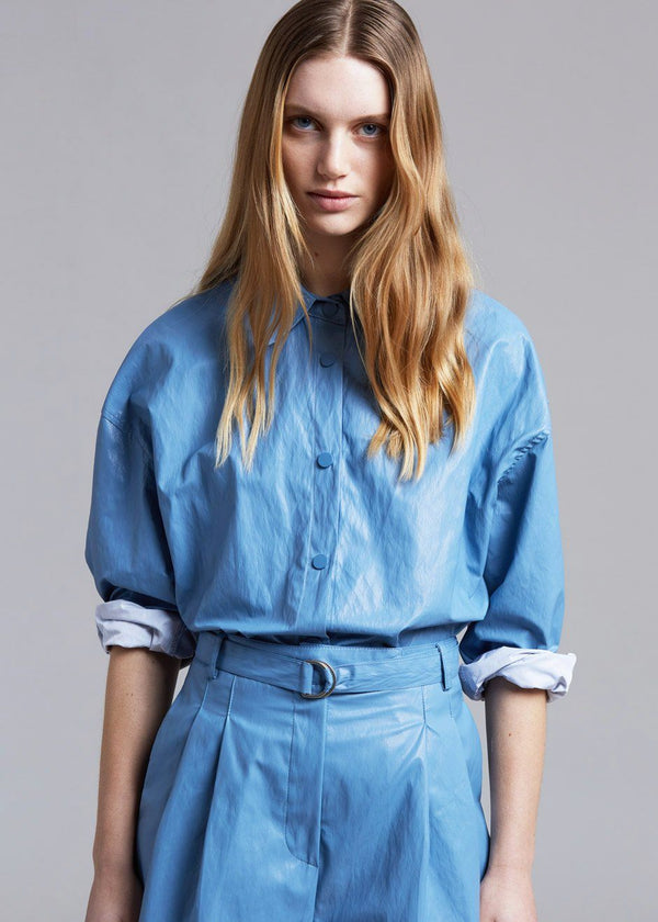 Waxed Belted Shirt in Cerulean Shirt The Frankie Shop